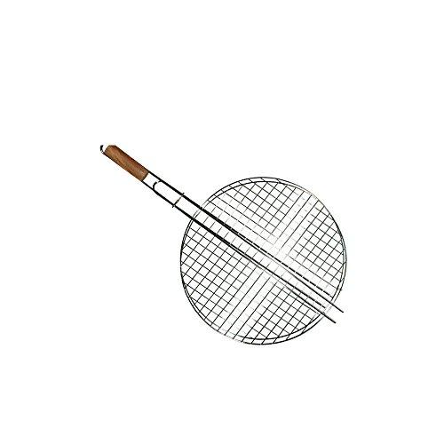 COOK & GRILL 3660495491409 Grille de Barbecue Ronde avec Manche en Bois, Gris, 30x25x10 cm