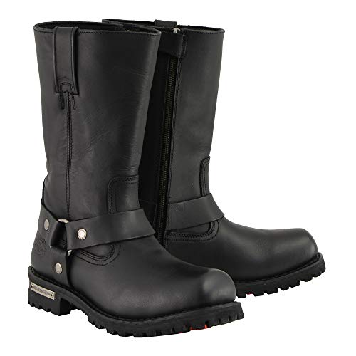 Milwaukee Men's Classic Harness Motorcycle Boots (Black, Size 10)