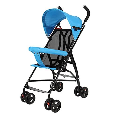 Cochecito de bebé plegable ligero, recién nacido hasta 30 kg, silla de paseo paraguas de bebé de malla transpirable, cabe en aviones, fácil de plegar, azul
