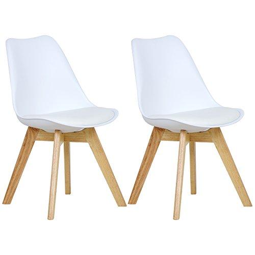 WOLTU BH29ws-2 2 x Esszimmerstühle 2er Set Esszimmerstuhl Design Stuhl Küchenstuhl Holz, Weiß