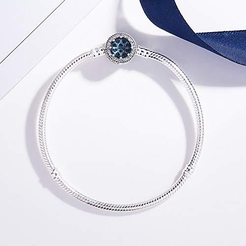 Armband,925 Sterling Silber Openwork Strahlenden Herzen Mit Blue Crystal Pan Armband Armreif Passen Frauen Raupe Charme DIY-Schmuck, 21 cm