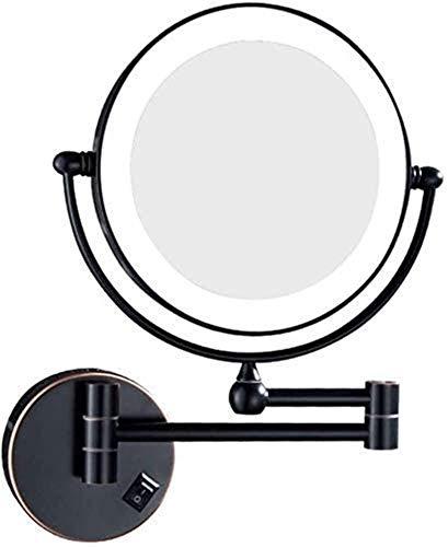 L&B-MR Espejo de maquillaje plegable de pared para baño, telescópico 3X, 5X, 7X, rotación de 360 grados, espejo de belleza redondo HD, afeitado en dormitorio o baño (color negro, tamaño: 3X)