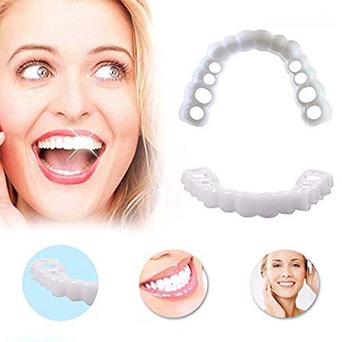 CKAN Kosmetische Zahn Sofortig Furniere Extra Dünn Kosmetische Zähne Sicherer Provisorischer Zahnersatz Ober und Unterkiefer für perfekte Lächeln 3 Paar
