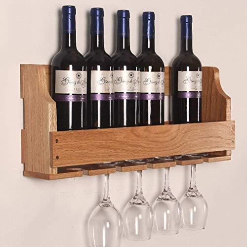 Estantería de vino Estante de pared botella de vino de madera independiente 6 botellas colgantes 5 copas de vino estante de vino soporte de gabinete de almacenamiento de madera mostrador organizador f