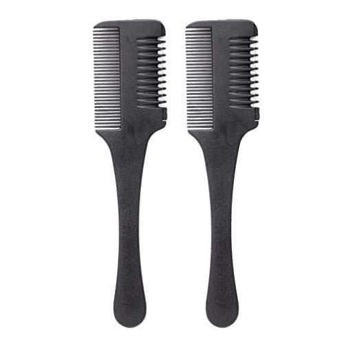Minkissy Haarschneider Kamm 2 Stück Haarverdünner Kamm Shaper Haarrasierer mit Kamm Haarschere Schere Doppelkante Rasierklingen zum Haarschneiden Und Styling