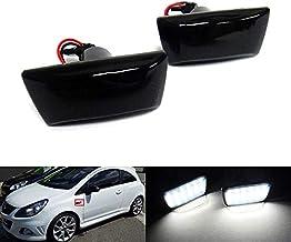 2 intermitentes laterales para coche, lente negra ahumada, LED blanca, color de carcasa negro