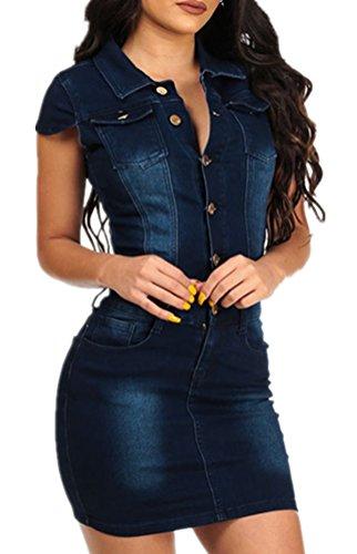 Foluton Damen Jeans Minikleid Sommerkleider Ärmellos Bodycon Bleistiftrock Partykleid Tunika Hemd Blusenkleid Jeanskleid Clubwear Cocktailkleid mit Knopfleiste