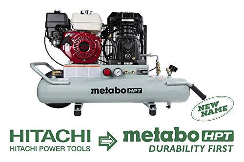 Metabo HPT EC2610E Gas Powered Wheelbarrow Air Compressor, Portable, 8-Gallon, Honda GX 160 Engine, Twin Tank, Cast Iron, Low RPM, Oil Lubricated Pump, Solid Flat-free Rubber Tire