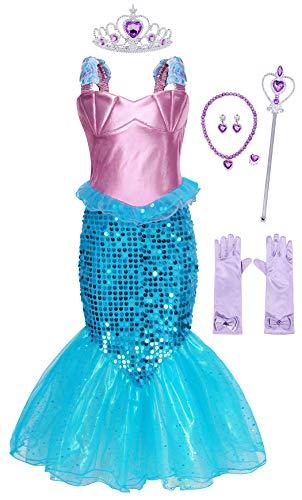 AmzBarley Zeemeermin-kostuumjurk voor kinderen en meisjes, arië-kostuum, prinsessenjurk, avondjurk, Halloween, cosplay, gekke jurk, verjaardagsfeest, aankleden