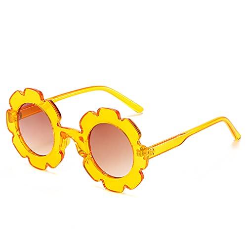 YTYASO Gafas de Sol Redondas con Flores para niños, Gafas para niños y niñas, Gafas de Sol con Lentes degradados para niños, Tonos de Belleza UV400