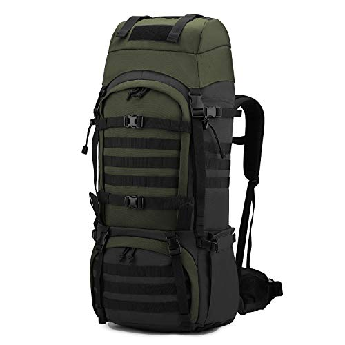 Mardingtop 65L Molle Hiking Internal Frame Backpacks with Rain Cover Black and Army Green-65L