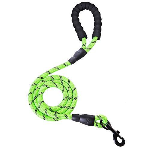 Souarts Hundeleine Sterke honden trainingslijn met comfortabele gewatteerde handgreep reflecterende uiteinden voor veiligheid 's nachts geschikt voor alle maten honden blauw zwart roze rood groen, groen