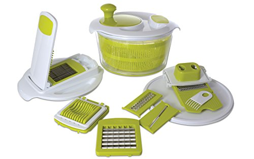 Salad Spinner + Deluxe 12 pc Set | Vegetable Washer Bowl, Slicing and Chopping Attachments Rinsing Colander Basket Lettuce Washer and Dryer Water Drain System