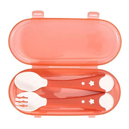 01 Juego de Tenedor de Cuchara para bebé, Juego de vajilla para bebé, fácil de Lavar para niños, autoalimentación, Aprendizaje, bebé, niños(Red)