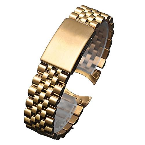 Correa Metálica de Reloj 13 17 20 21mm Acero Inoxidable de Dos Tonos Silvergled Silver MiddleGold Band Strap Correa Reloj (Band Color : Gold, Band Width : 19mm)