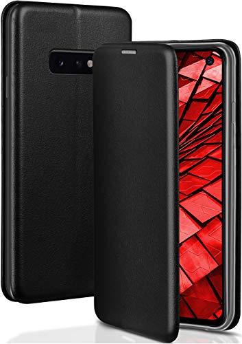 ONEFLOW Handyhülle kompatibel mit Samsung Galaxy S10e - Hülle klappbar, Handytasche mit Kartenfach, Flip Hülle Call Funktion, Klapphülle in Leder Optik, Schwarz