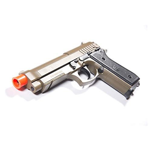 Cybergun Pistola Softair Taurus PT92 M9 Pistola a Molla con Culatta in Metallo, Sistema Bax Potenza 0.5 Joule Capacità 12 Pallini