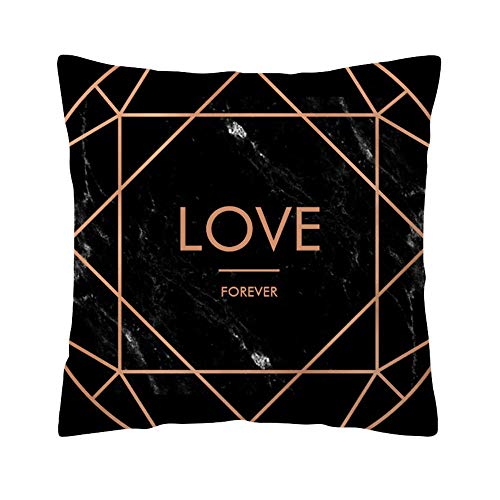 Xmiral Kissenbezüge Rose Black Gold Kissenbezug Platz Sofakissen Pillowcase(L)