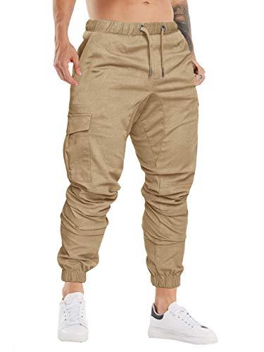 Cindeyar Herren Hosen Slim Fit Casual Jogger Sporthose Freizeithose Cargo Chino Jeans Hose (Khaki 01,M)