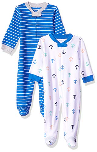 Amazon Essentials - Pack de 2 pijamas de niño para dormir y jugar, Boy Nautical, Bebé prematuro