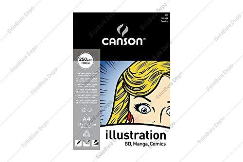 CANSON Lot de 9 Blocs 12 planches BD 250g lisses format A4 (BD Manga ..)