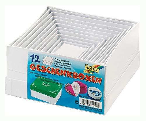 folia 3100 - Geschenkboxen, Pappschachteln aus Karton, quadratisch, weiß, 12 Stück in verschiedenen Größen - ideal zum Verzieren und Verschenken