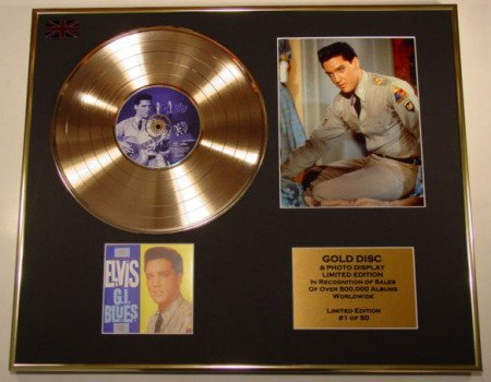 GOLD RECORD Elvis Presley Disque d'or et Photo Edition/COA/G.I. Bleu.