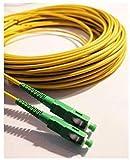 PRENDELUZ Cable Fibra ÓPTICA Universal - 5 Metros - Color Amarillo SC/APC a SC/APC monomodo simplex 9/125, Compatible con Orange, Movistar, Vodafone, Jazztel.