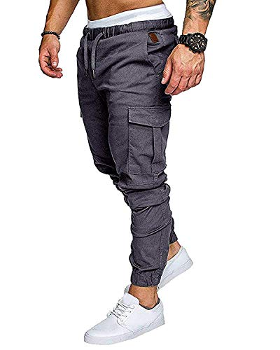 Männer Baumwolle Jogger Hosen Slacks Casual Elastic Classics Cargo Jogginghose Solide Baggy Taschen Hosen Anthrazit X-Large