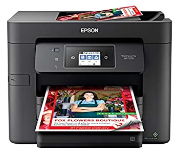 Epson WorkForce Pro WF-3730 All-in-One Wireless Color Printer with Copier Scanner Fax and Wi-Fi Direct,Black,10-1/2 x 7-1/2 x 6-1/2 in