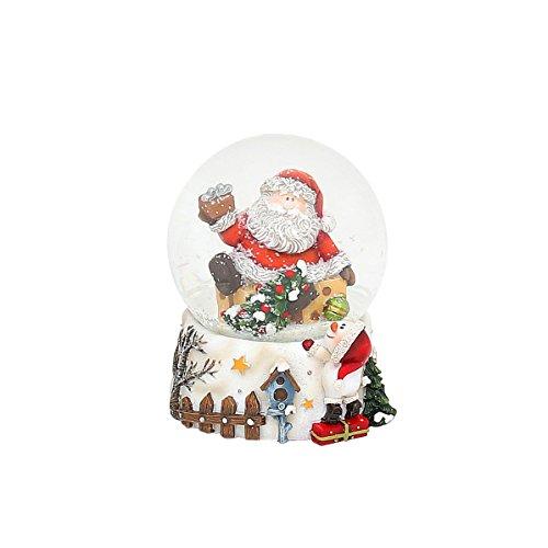 Dekohelden24 Kleine Schneekugel mit Weihnachtsmann, L/B/H 7 x 7 x 9,5 cm Kugel Ø 6,5 cm.