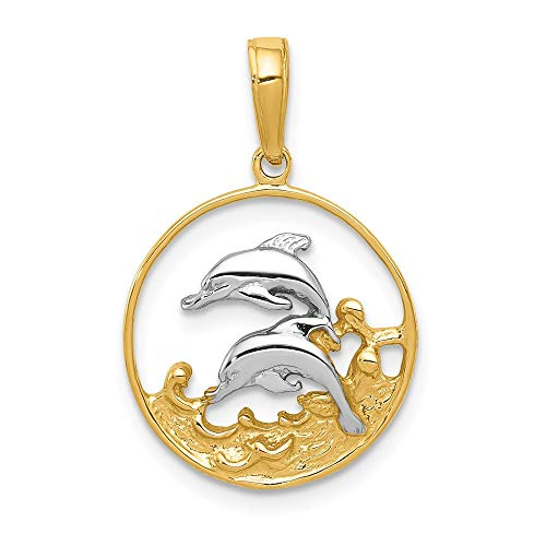 Black Bow Jewelry 14k Yellow Gold Two Tone Double Dolphins in Circle Pendant