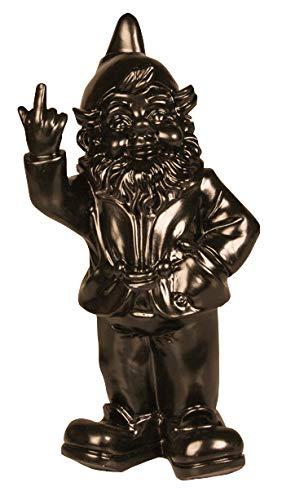 Statuetta nano da giardino con dito medio alzato - per interni e giardini - nero - 15 x 12 x 32 cm
