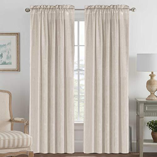 "Elegant Natural Linen Blended Energy Efficient Light Filtering Curtains / Rod Pocket Window Treatments Panels / Drapes for Livingroom (Set of 2, Angora, 52"" x 96"")"