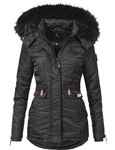 Navahoo Damen Winter-Jacke Winter-Mantel Steppmantel Schätzchen Schwarz Gr. L
