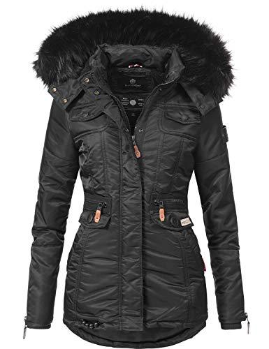 Navahoo Damen Winter-Jacke Winter-Mantel Steppmantel Schätzchen Schwarz Gr. M