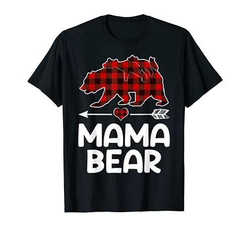 Red Plaid Mama Bear Matching Pajama Family Buffalo Mom T-Shirt