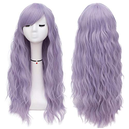 Mildiso Long Light Purple Wigs Women's Fluffy Curly Wavy Cosplay Wigs for Girl M047E
