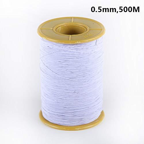 Brede elastische banden Spoel Naaiband Plat Elastisch Koord van Wit Elastiek Band Spoel van Zwart Elastiek Spoel 0.5MM, 5M,White,3pcs