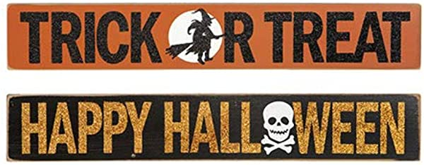HAPPY DEALS Set Of 2 Different Halloween Signs Halloween Tabletop Block Signs And Decor 14 5 X 2 5