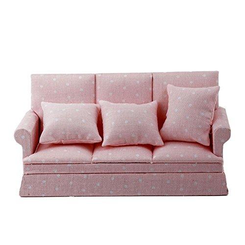 Dasing 1:12 Puppenhaus Miniatur Wohnzimmer Moebel Dreisitzer Couch Sofa Kissen Satz Rosa