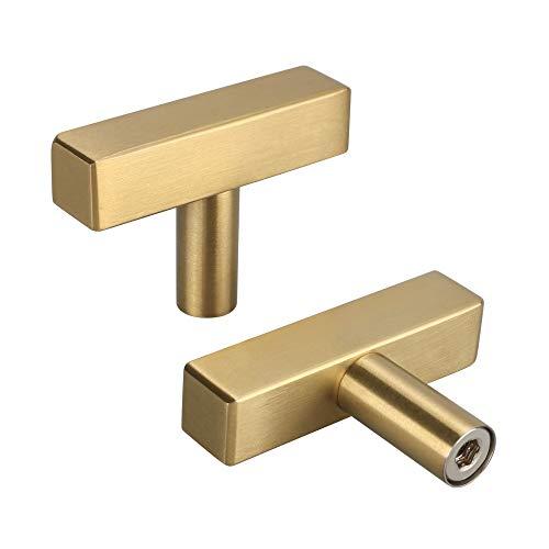 25 Stück Gold Möbelknöpfe Modern Schubladenknöpfe LS1212GD Möbelgriff Moebelknauf Schrankgriffe Edelstahl Gesamtlänge: 50 mm Griff Garderobe Kommode Ziehgriffe