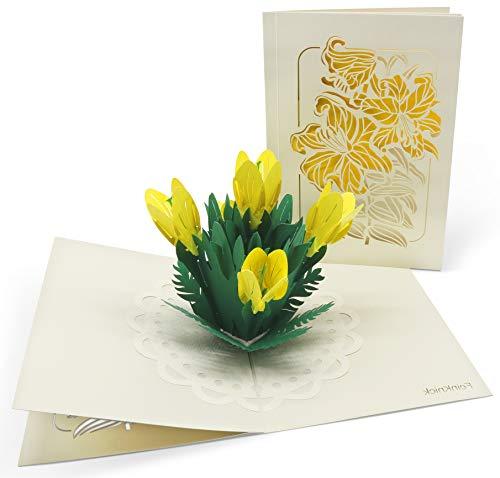 Grußkarte mit extra Seite für Text - einzige 3-seitige Klappkarte als Glückwunschkarte & Dankeskarte & Karte zum Muttertag - 3D Pop-Up Karte mit Blumen