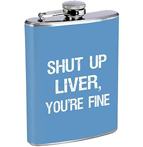 Halt die Schnauze Leber lustiger getrunkener Edelstahl-Flaschen-trinkender Whisky