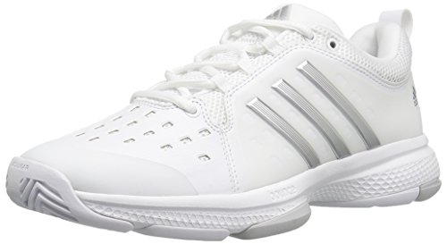 adidas Women's Barricade Classic Bounce Tennis Shoes, White/Metallic Silver/Light Solid Grey Heather, (5 M US)