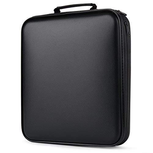 CD Tasche,COOFIT CD Aufbewahrung 160 CD/DVD Tasche DVD Lagerung DVD Case VCD Wallets Speicher Organizer Hard Plastik Schutz DVD Lagerung (160 Schwarz)