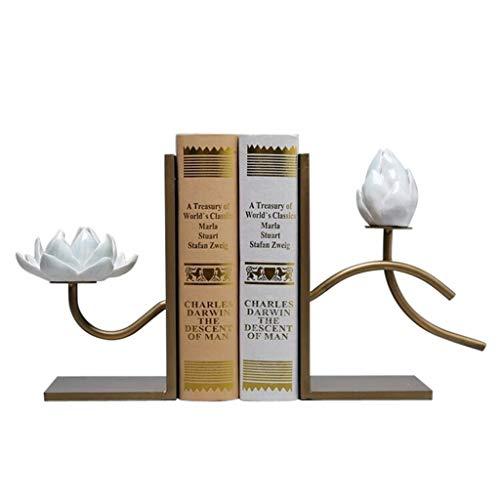 MQH Sujetalibros Libro de Metal, reservas for estanterías de Libros de Libros Pesados Lotus Lotus Decorative Shelf Bookend Supports, Tappers de Libros Extremos de Libros