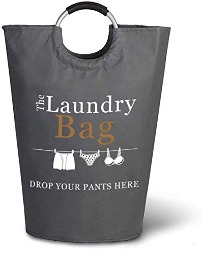The Fine Living Company USA - Drop Your Pants Here Print - Laundry Hamper - Large Capacity Washing Basket - Collapsible Fabric Laundry Hamper - Perfect for College, Dorms, Travelling, Laundromat