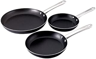 Farberware 20065 Kitchen Ease Nonstick Frying Pan Set / Fry Pan Set / Skillet Set - 8 Inch, 10 Inch, and 11 Inch, Black
