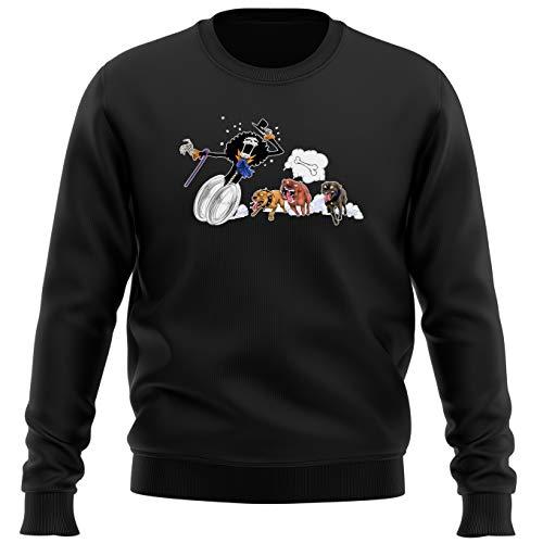 Pull Noir Parodie One Piece - Brook - Le Meilleur ami du Chien ! (Sweatshirt de qualité Premium de Taille M - imprimé en France)